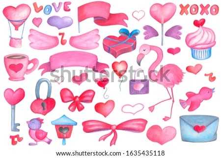 Pink blue watercolor heart and wings on white background. Valentine's Day handdrawn clipart set with romantic air balloon, sweet lollipop and cupcake with heart. Pink wedding or valentine clip art