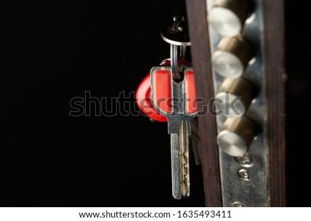 the door lock with the handle and a key. Focus on keys. Royalty-Free Stock Photo #1635493411