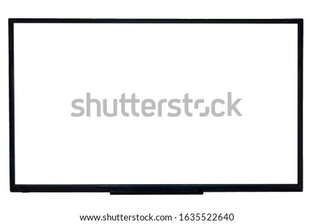 Closeup of a big smart tv with empty screen isolated on white background #1635522640