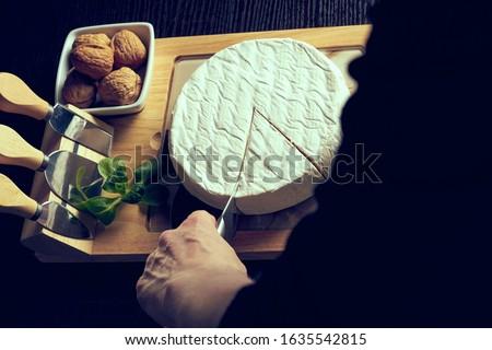 Closeup on woman cutting fresh cheese at desk. #1635542815