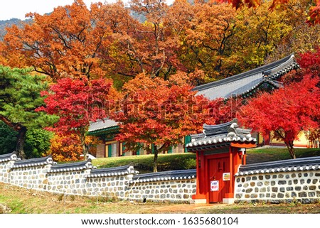 Autumn leave in Korea.Notice means Keep quite because The monks are training. #1635680104
