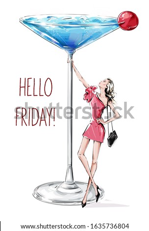 Hand drawn beautiful young woman holding large martini glass. Fashion woman in pink dress. Woman party. Friday celebration. Sketch. Fashion illustration.