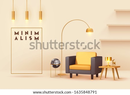 Interior design living room. Realistic wooden square table with gold lamp. Armchair yellow and black fabric. Hanging Golden Lamps. shelf on wall. Minimal composition 3d rendering. Vector illustration. Royalty-Free Stock Photo #1635848791