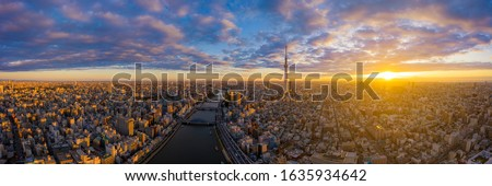 Aerial panorama view by drone of Tokyo Cityscape with Tokyo Sky Tree visible in Tokyo city, Japan on sunrise. Panoramic Dawn view of Tokyo city. Senso-Ji Temple with Sumida river in Japan. #1635934642