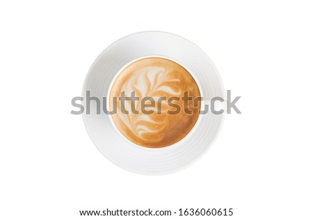hot latte coffee photography in vintage white coffee cup set with palm leaf shape latte art coffee flat lay top view isolated on white background with clipping path
