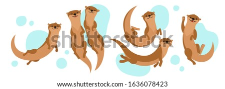 Vector set with cartoon otters and bubbles isolated on white.