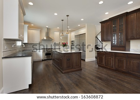 Kitchen in new construction home with center island #163608872