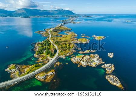 Aerial summer view of scenic Atlantic Ocean Road (Atlanterhavsveien)  in Norway Royalty-Free Stock Photo #1636151110