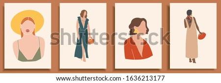 Set of abstract female shapes and silhouettes on retro summer background. Abstract women portraits in pastel colors. Collection of contemporary art posters. Fashion paper cut elements for social media