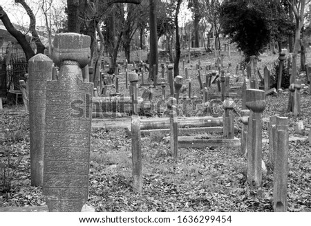 Old imperial period cemetery. Ottoman writings. Tombstones. There are grave heads according to the status of the deceased. #1636299454