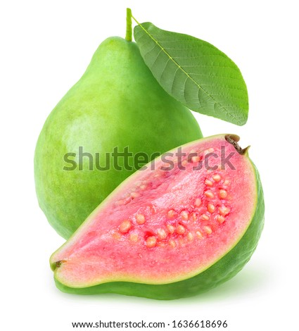 Isolated cut guava fruits. Green pink fleshed guava isolated on white background with clipping path #1636618696