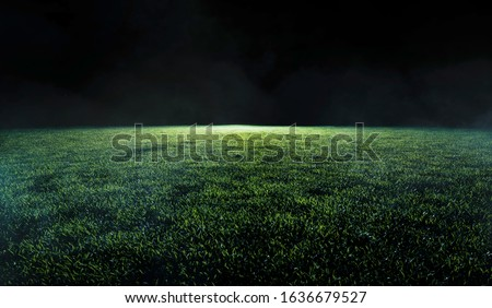 Low angle view across the neatly cut green grass of a soccer or sports field in shadowy evening light for use as a background image Royalty-Free Stock Photo #1636679527