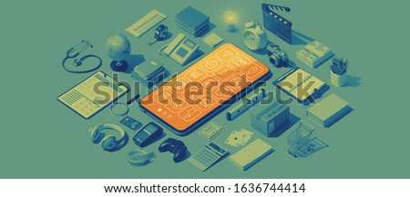 Smartphone apps services and matching isometric real objects #1636744414