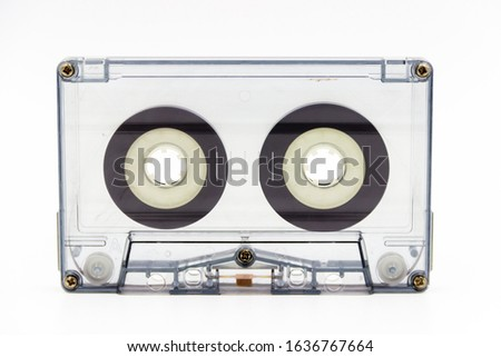 A studio shot of a cassette  k7 tape  isolated on a white background.