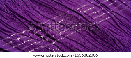 Texture background pattern, decor ornament, dark lilac corrugated fabric of blue cent, Fabric with parallel or diagonal folds of dentate folds; products from such a fabric. #1636882006