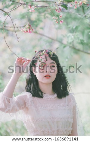 Close up outdoors portrait picture of a young and beautiful Vietnamese girl in white dress standing under the blooming cherry blossom tree, her hand hold a branch of the tree to cover her face #1636891141