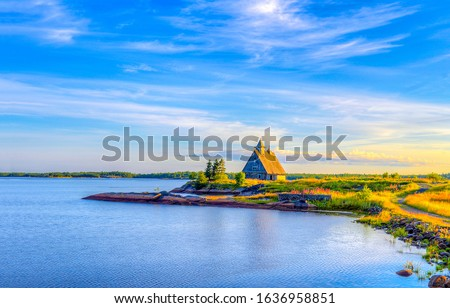 Lake house in morning landscape. Lake house view. Morning sunrise lake house landscape #1636958851