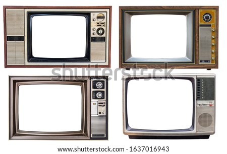 set of old retro color bronze  and wooden home TV receiver isolated on white background,mix vintage television #1637016943