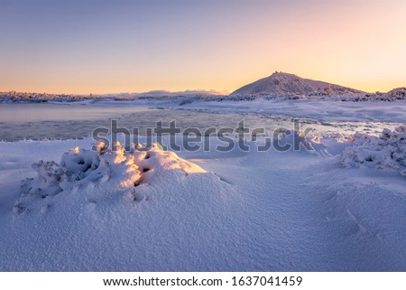Amazing sunrise in the mountains. Frozen lake, snow covered branches of small trees, rising sun, sunrays and the highest mountain of the Czech Republic. That's pure nature, pure joy. #1637041459
