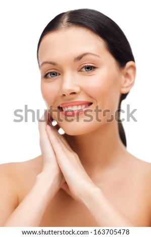 beauty, spa and health concept - smiling young woman #163705478