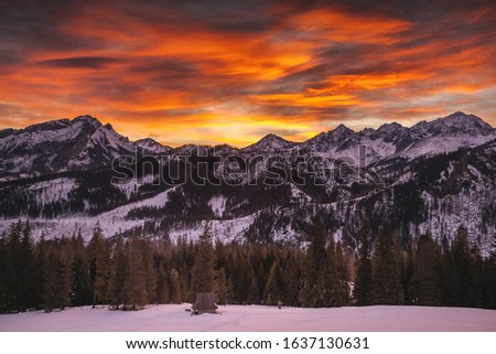Winter in Tatra Moutains in Poland. High Tatras landscape photos. #1637130631
