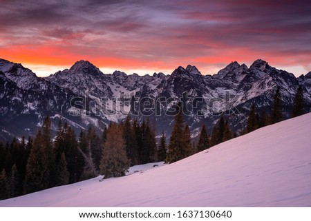 Winter in Tatra Moutains in Poland. High Tatras landscape photos. #1637130640