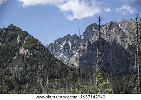 The High Tatras Mountains (Vysoke Tatry, Tatry Wysokie, Magas-Tatra), are a mountain range along the border of Slovakia in the Presov Region, and southern Poland  #1637142940