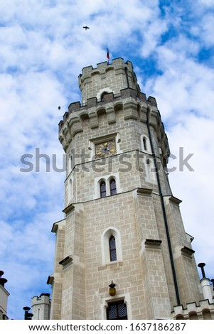 Vertical picture of the tower of Hluboka Castle (Hluboka nad Vltavou Castle), also called The State Chateau of Hluboka, one of the most famous landmarks in Czech Republic
