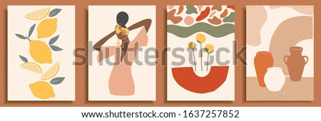Female shape / silhouette on retro summer background. Fashion woman portrait in pastel colors. Collection of contemporary art posters. Abstract paper cut elements, lemons, pottery, abstract shapes. Royalty-Free Stock Photo #1637257852