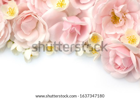 Summer blossoming roses and jasmine on white background. Blooming flowers spring background. Fragrant bouquet. Flower card. Pastel colors. Holiday backdrop. Spring border art #1637347180
