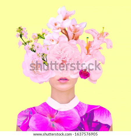 Contemporary art collage. Bloom Flowers Lady #1637576905