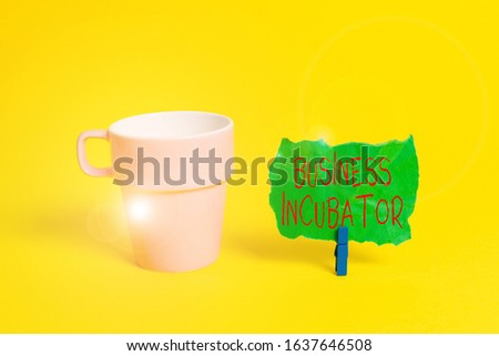 Conceptual hand writing showing Business Incubator. Business photo text company that helps new and startup companies to develop Paper blue clothespin rectangle shape reminder yellow office. #1637646508