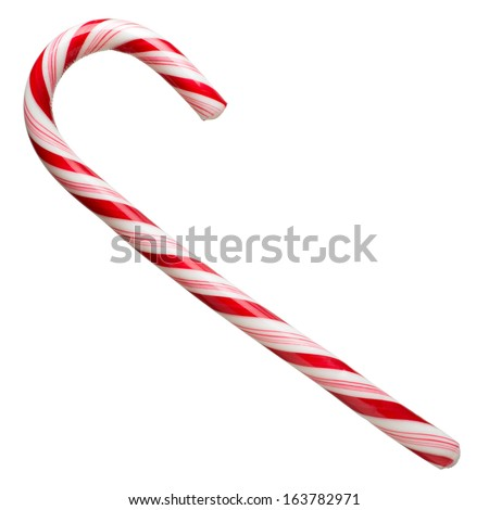 Mint hard candy cane striped in Christmas colours isolated on a white background. Closeup.  #163782971