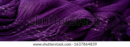 Texture background pattern, decor ornament, dark lilac corrugated fabric of blue cent, Fabric with parallel or diagonal folds of dentate folds; products from such a fabric. #1637864839