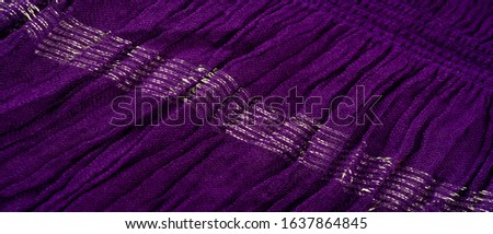 Texture background pattern, decor ornament, dark lilac corrugated fabric of blue cent, Fabric with parallel or diagonal folds of dentate folds; products from such a fabric. #1637864845