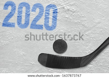 Fragment of a hockey field, stick and puck. Concept #1637873767