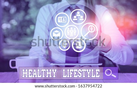 Writing note showing Healthy Lifestyle. Business photo showcasing way of living that lowers the risk of being seriously ill. #1637954722