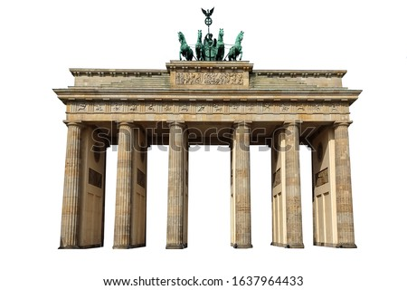 The Brandenburg Gate (German: Brandenburger Tor) isolated on white background. It is an 18th-century neoclassical monument in Berlin. Royalty-Free Stock Photo #1637964433