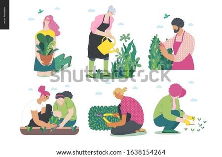 Gardening people set, spring -modern flat vector concept illustration of diverse people -men and women, doing hobby garden work -watering, planting, cutting, hoeing, arranging Spring gardening concept #1638154264