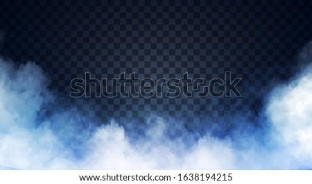 Blue-gray fog or smoke on dark copy space background. Vector illustration