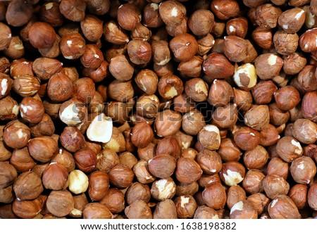 Hazelnut Background. Full Frame Shot Of Hazelnut For Sale In Market #1638198382