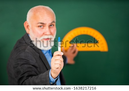 Man bearded tutor chalkboard background. Mature lecturer share knowledge. Stem knowledge. Knowledge concept. Investigation and research. Develop attitude openness and flexibility towards learning. #1638217216