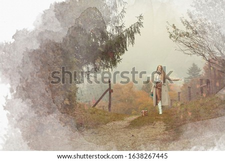 Portrait of a romantic woman in an autumn forest, illustration for a book illustration or book cover. #1638267445