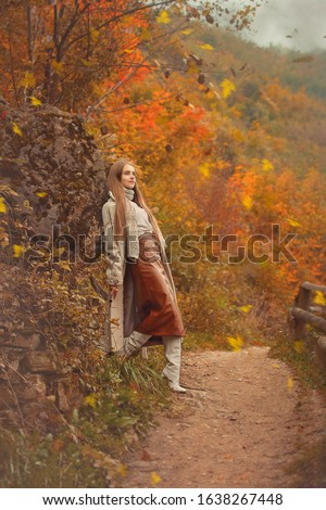 Portrait of a romantic woman in an autumn forest, illustration for a book illustration or book cover. #1638267448