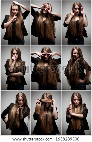 Collage photo of girl with long brown hair posing in different poses on light gray background #1638289300