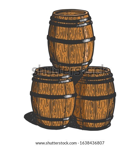 Wine beer wooden barrels sketch engraving raster illustration. T-shirt apparel print design. Scratch board imitation. Black and white hand drawn image.
