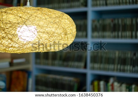 Lamp in the library . Bookshelves in the background #1638450376