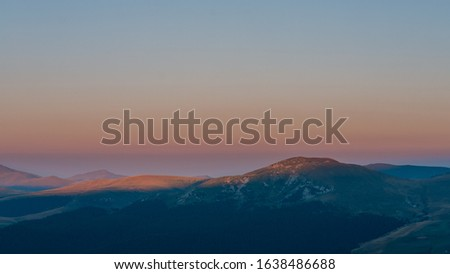 bucegi, Majestic sunrise in montain landscape. Sunset time. Carpathian, Romanian, Europe. Beauty world. #1638486688