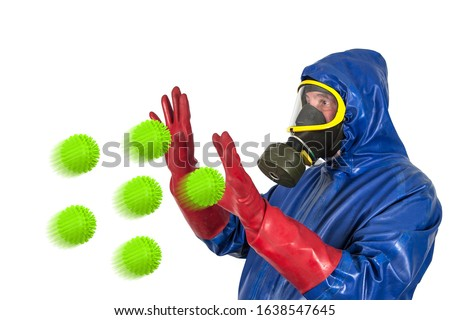 What is the best way to protect yourself against flu viruses? A man in a rubber protective suit, with a protective mask and rubber gloves is attacked by oversized flu viruses. #1638547645