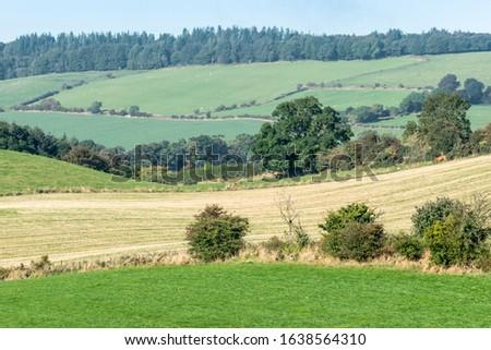 A photograph of farmland fields. #1638564310